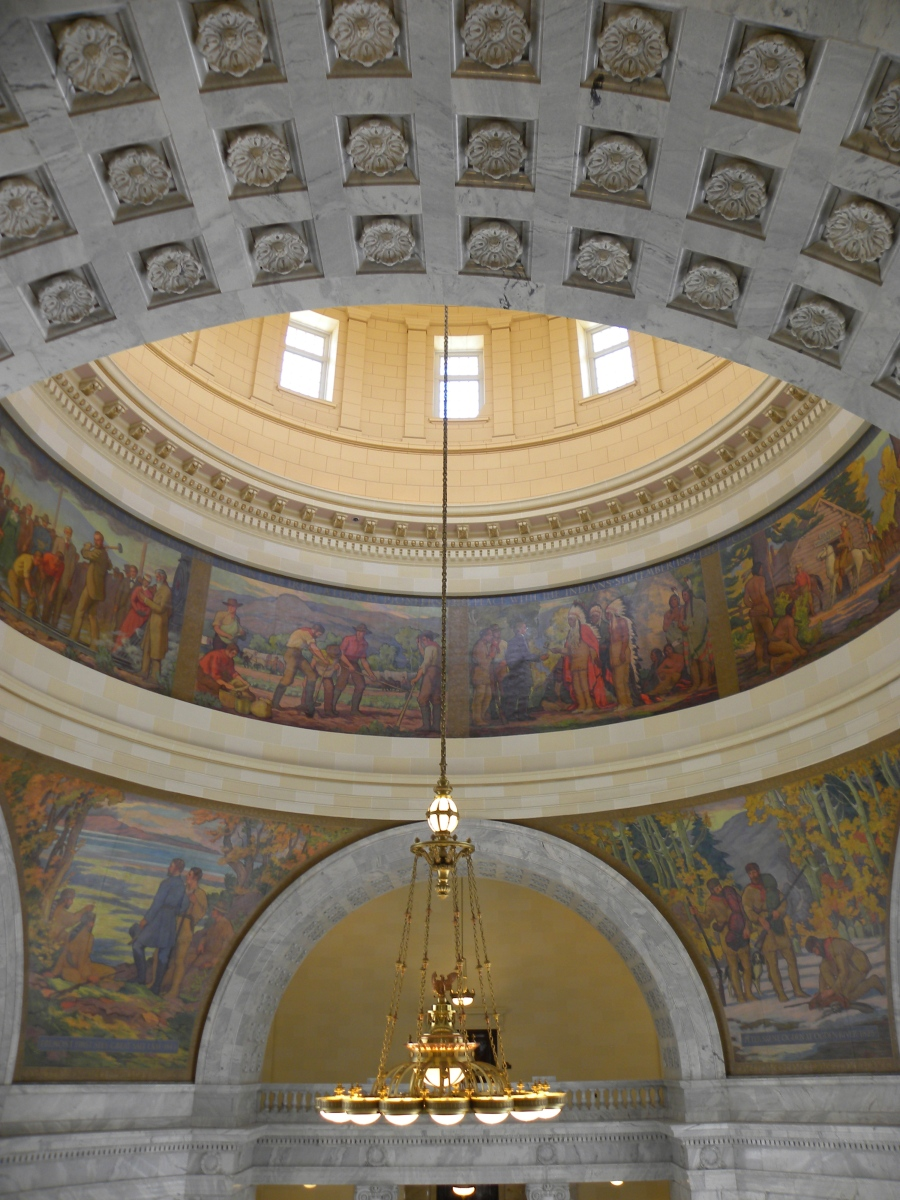 View of paintings inside dome. Wait...what's that guy doing to that beaver?